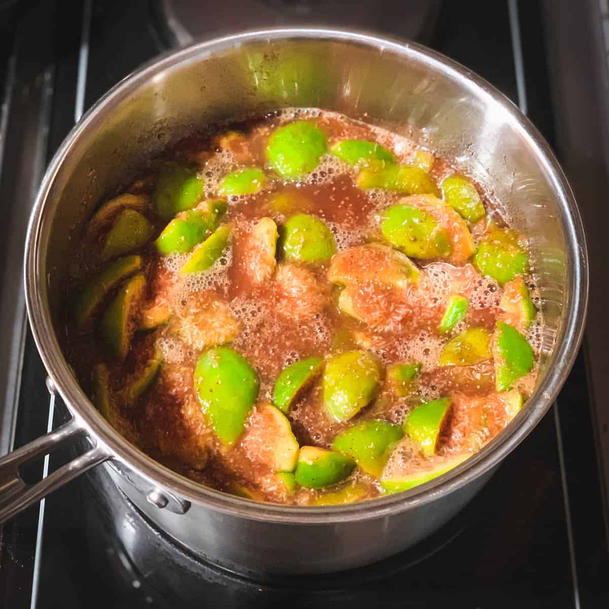 figs cooking in a pot on the stove