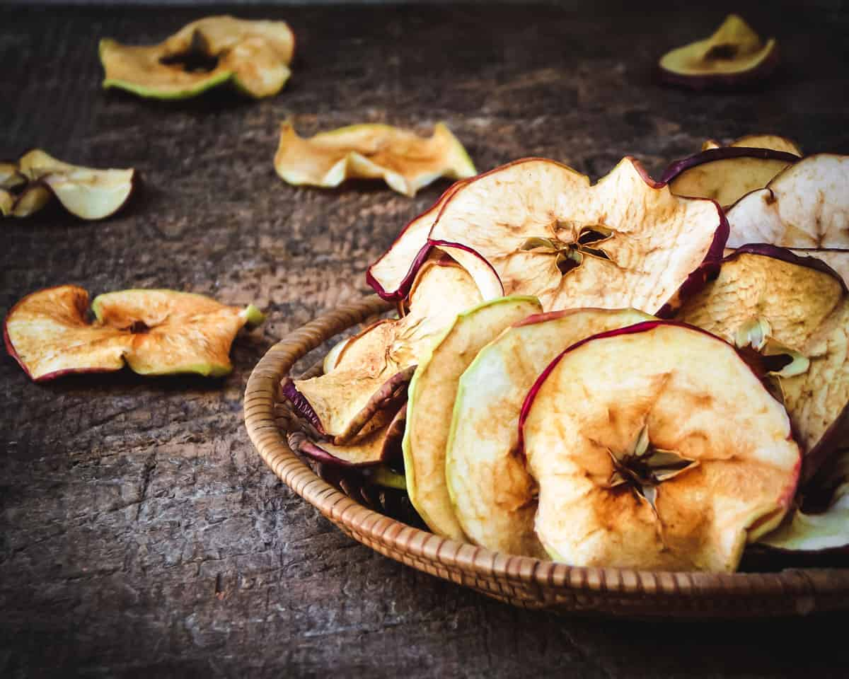 dried apple rings in a bowl