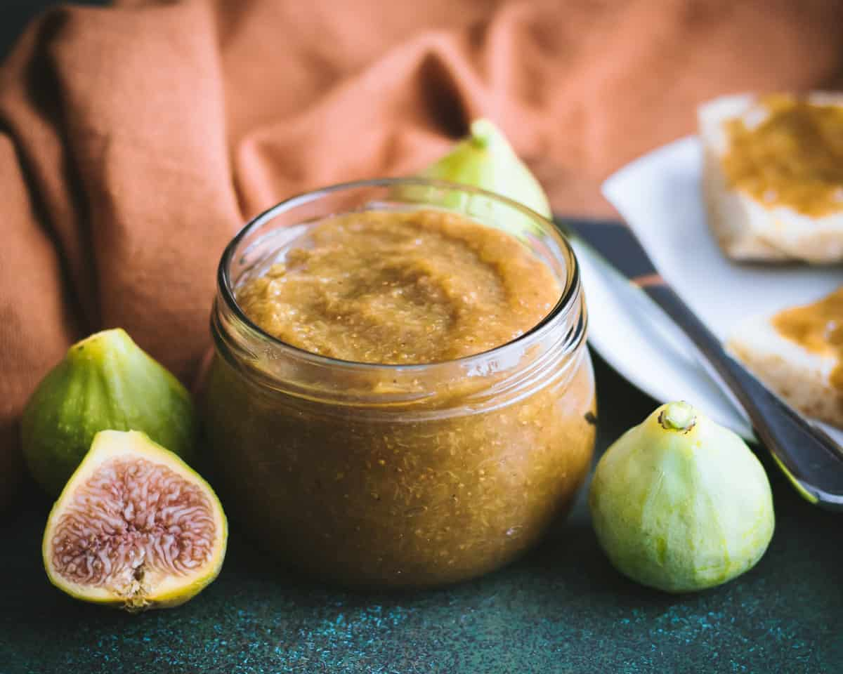 a close of of a jar of fig honey butter
