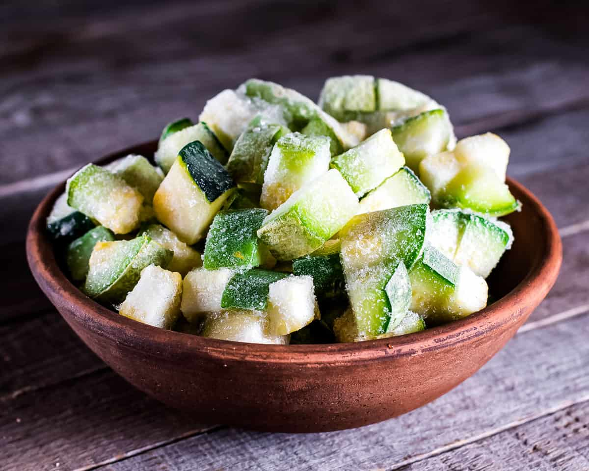 frozen zucchini chunks in a bowl