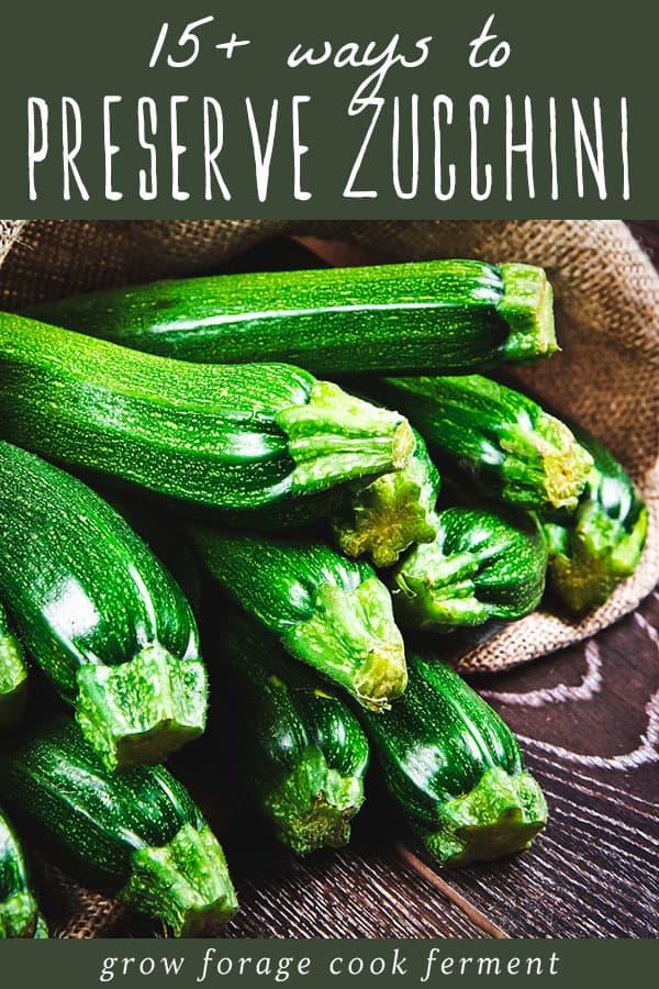 zucchini in a burlap sack