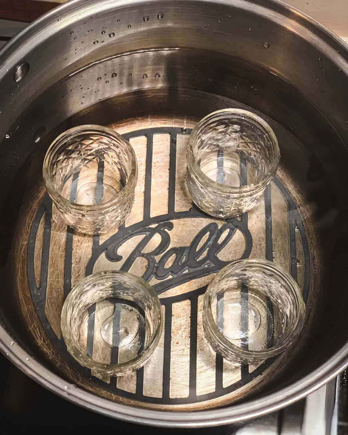half pint jars in the water bath canner