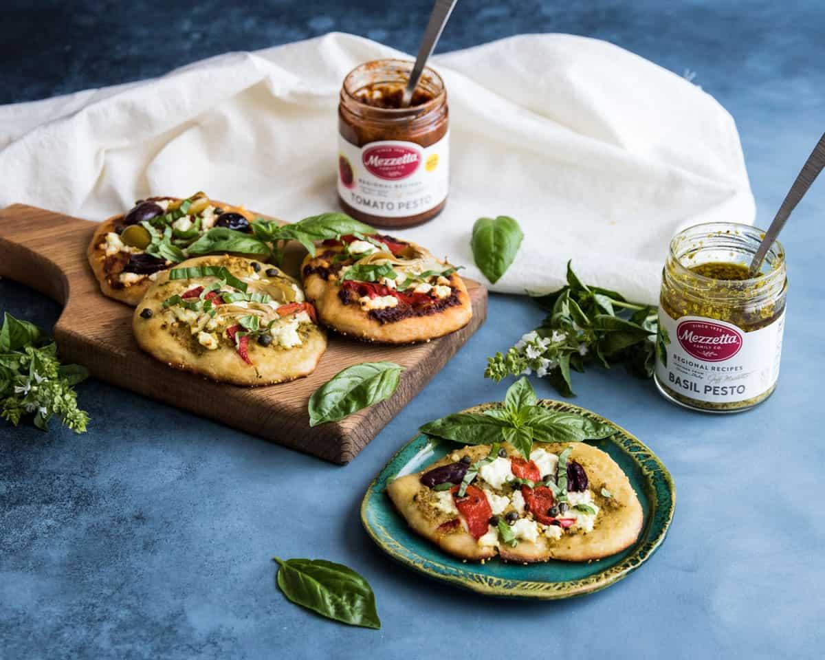 mini pizzas with Mezzetta pesto