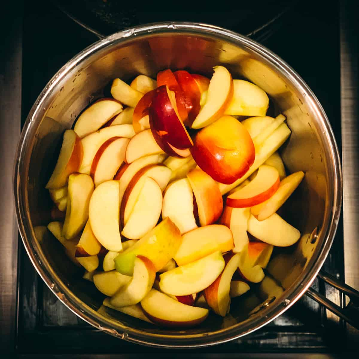 sliced apples in a pot