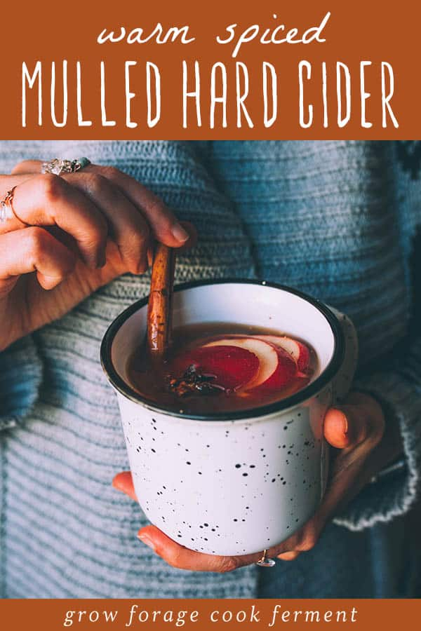 a woman holding a mug of mulled hard cider with a cinnamon stick