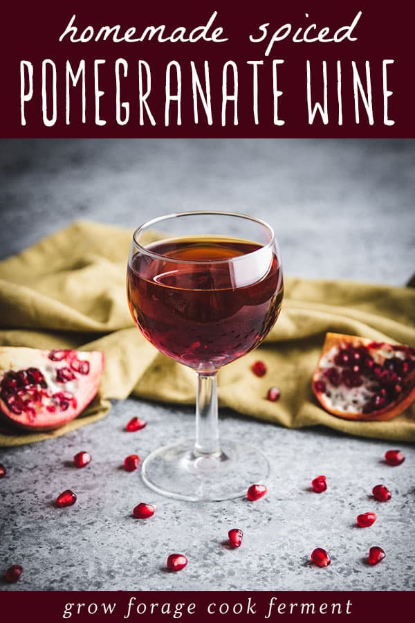 a glass of homemade spiced pomegranate wine