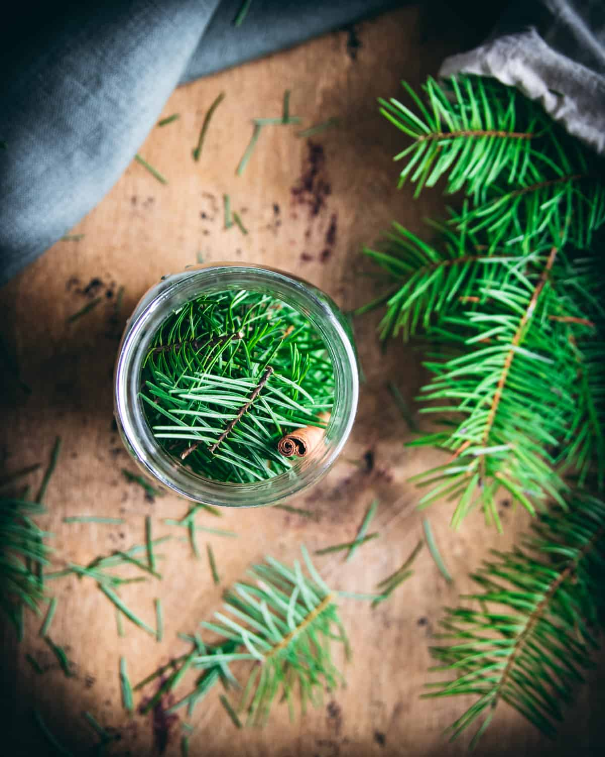 top view of a jar full of conifer needles and a cinnamon stick