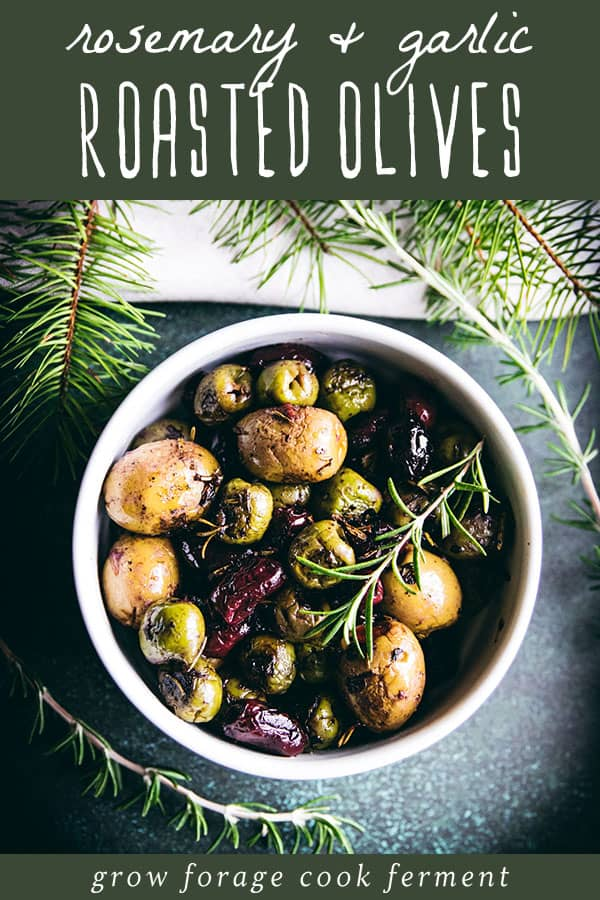 a bowl filled with rosemary roasted olives