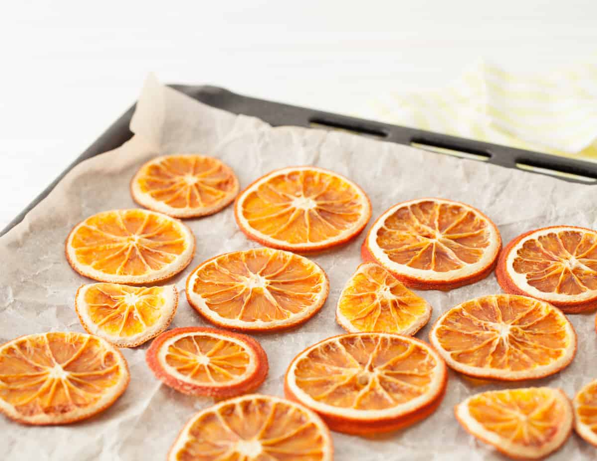 a sheet pan of dried orange slices