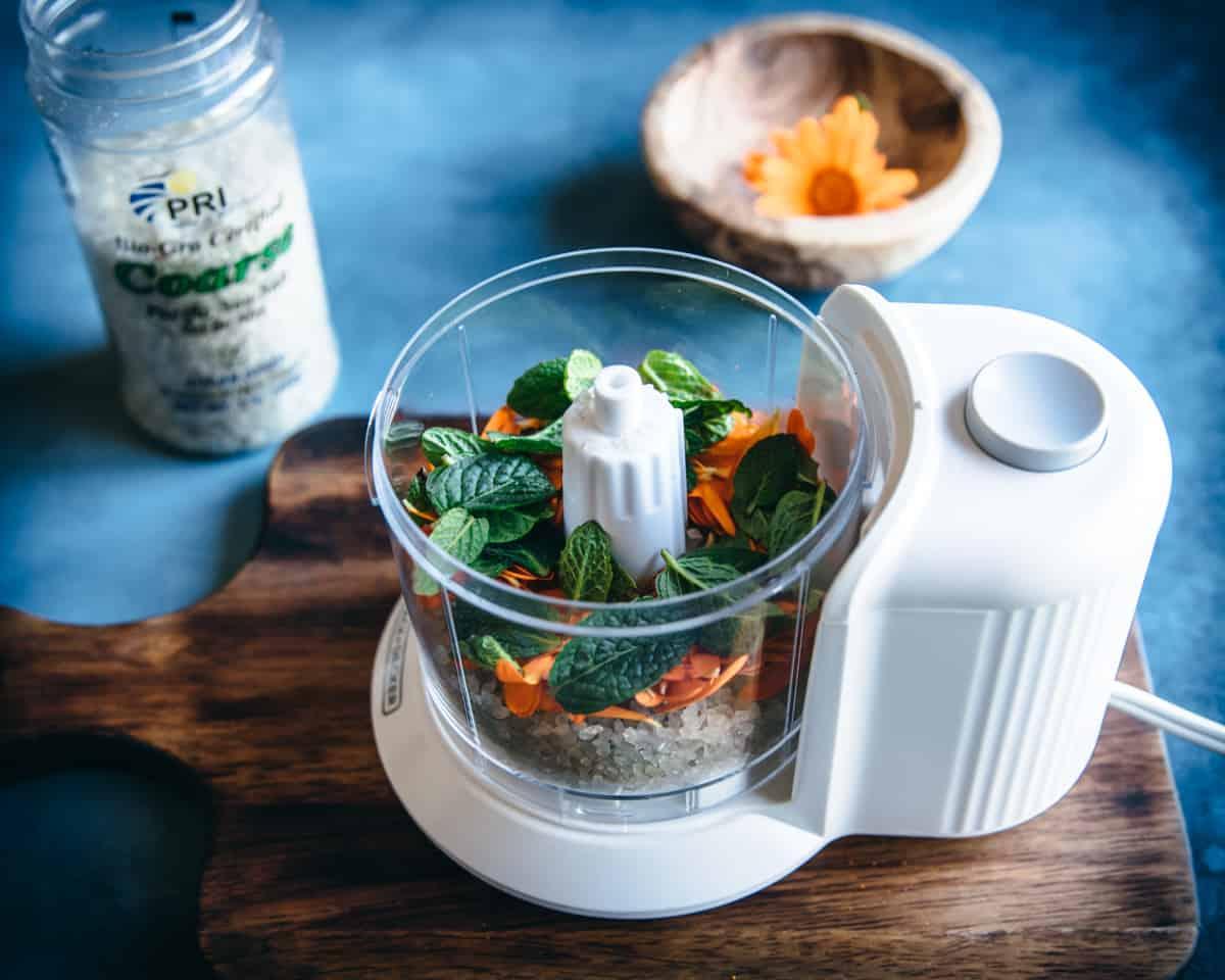 coarse sea salt and herbs in a food processor