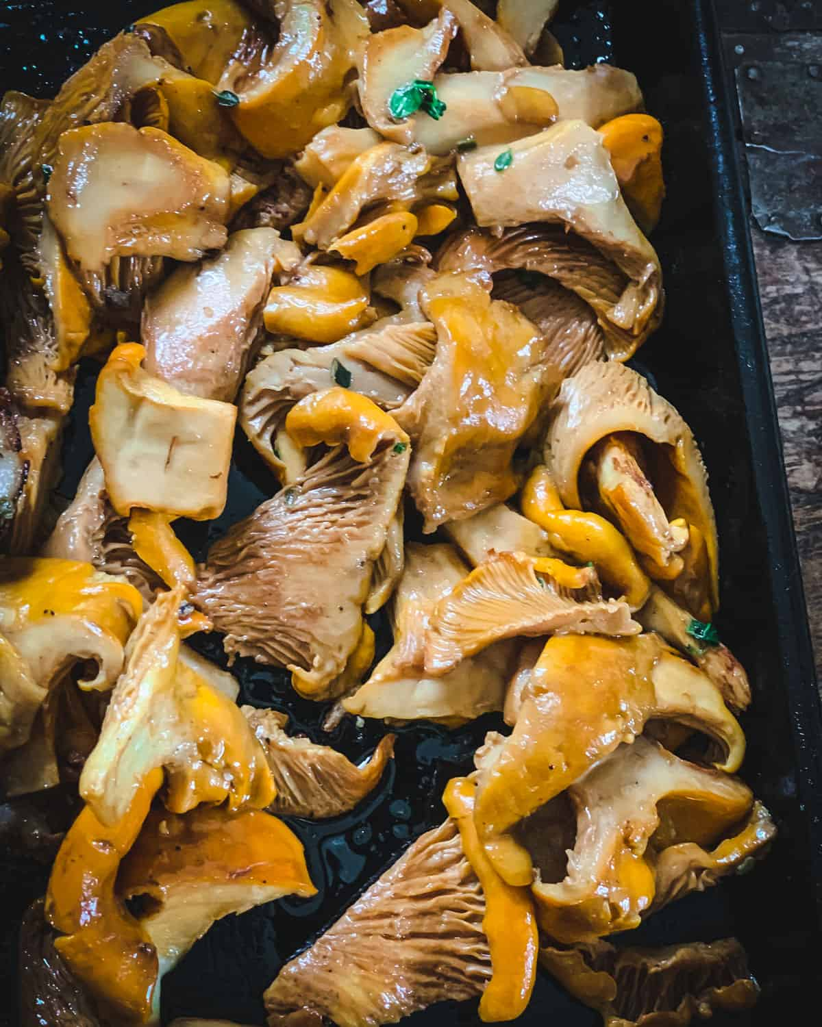 cooked chanterelle mushrooms with thyme