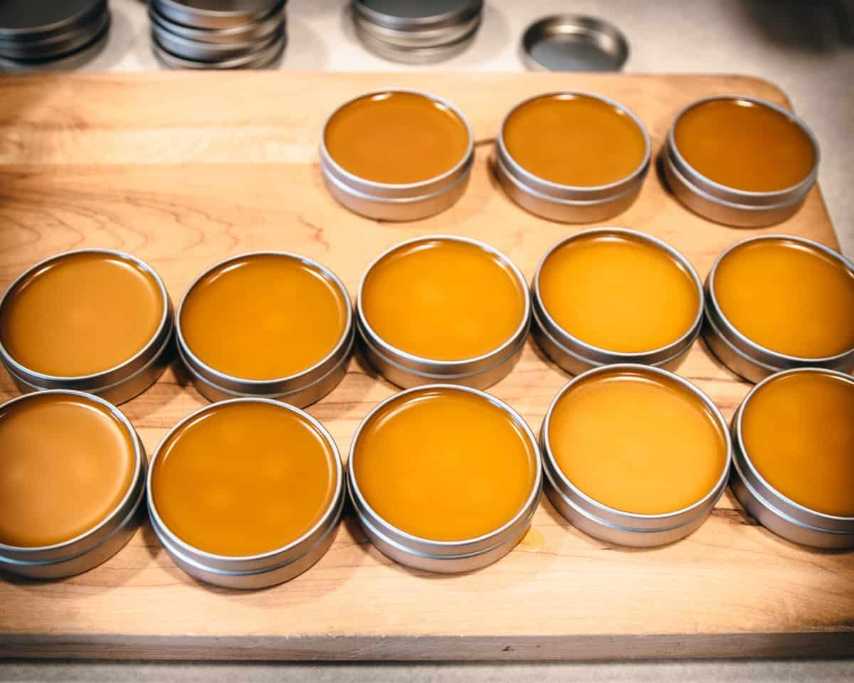 tins of freshly poured calendula salve
