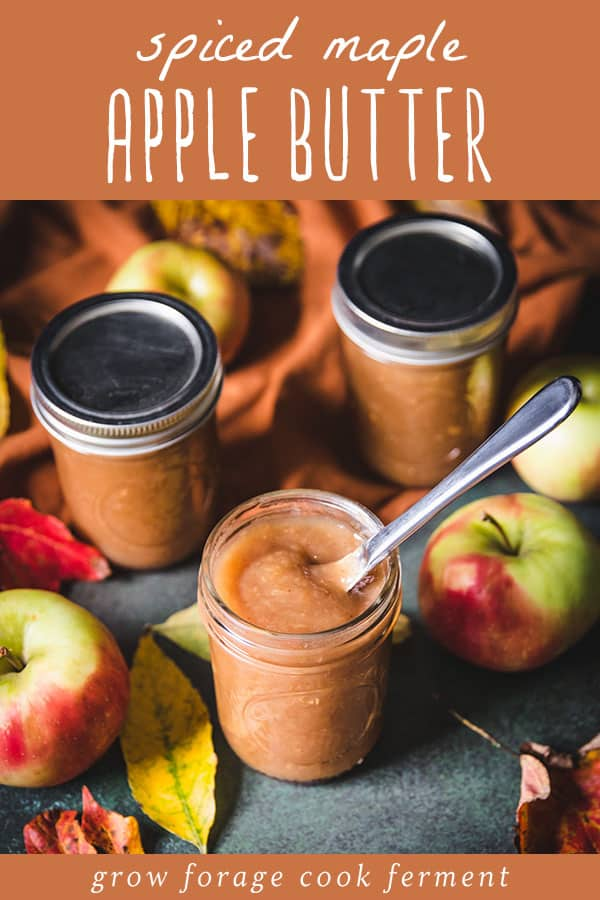 top view of spiced maple apple butter with a butter knife